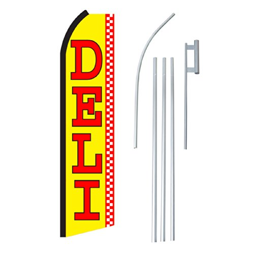 "NEOPlex - ""Deli"" Complete Flag Kit - Includes 12' Swooper Feather Business Flag With 15-foot Anodized Aluminum Flagpole AND Ground Spike"