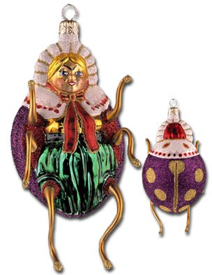 "Slavic Treasures ""The Lady's A Bug"" Collectible Blown Glass Ornament #99-157-B-FB"