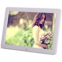 Minidiva 12 1080P HD LED Digital Photo Frame(16:9) - Multifunction Digital Picture Display 1280x800 with Max 32GB Storage(White)
