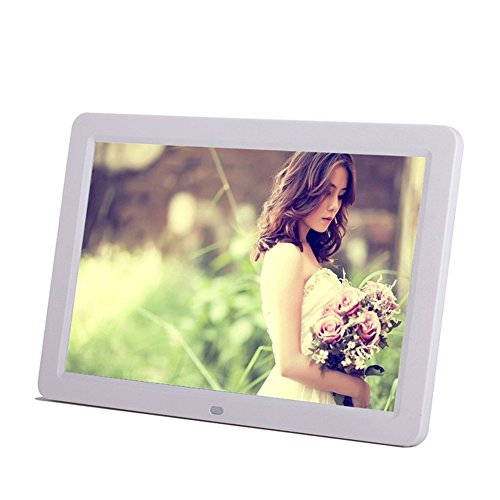 Minidiva 12″ 1080P HD LED Digital Photo Frame(16:9) – Multifunction Digital Picture Display 1280×800 with Max 32GB Storage(White)