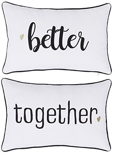 DecorHouzz Pillowcase Hubby Wifey Embroidered Pillow cover for Couple Wedding Anniversary Gift (12
