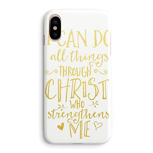 Compatible iPhone X Case Girls Women Life Power Quotes Cute Women Bible Verses Quotes Life Christian Inspirational Motivational I Can Do All Things Through Christ Soft Clear Side iPhone X/Xs Case