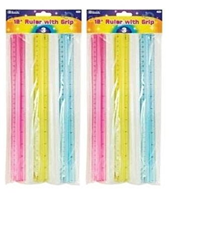 [Pack of 2: BAZIC Ruler with Handle Grip, 12 Inch, 3 Per Pack, (2 Packs)] (Grip Metric Handles)