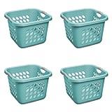 STERILITE 1.5 Bushel Square Ultra Laundry Basket, Teal Splash (4 Units)