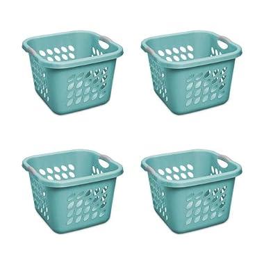 STERILITE 1.5 Bushel Square Ultra Laundry Basket, Teal Splash (4-Pack)