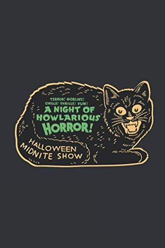 Notebook: Vintage Halloween Scary Black Cat Horror Journal