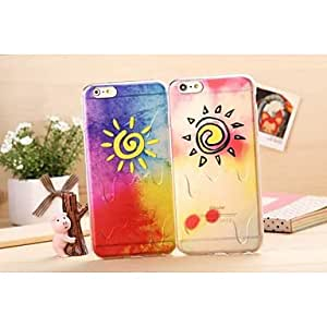 QHY New Cartoon Sun Color Pattern TPU Soft Case for iPhone 5S , B