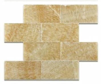 Honey Onyx 3 X 6 Polished Premium Brick / Subway Tile   2 Pcs.