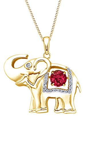 AFFY Simulated Ruby & White Sapphire CZ Dancing Stone Elephant Pendant Necklace in Yellow Gold Over Brass