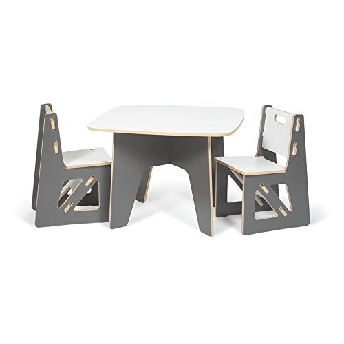 Sprout Modern Kids Table and 2 Chair Set, Grey and White by Sprout
