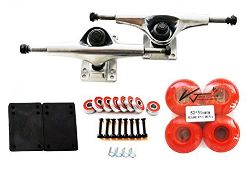 "- VJ Skateboard Combo 5"" Trucks Silver, 52mm Skateboard Wheels, Abec7 Bearings, Screws, Riser Pads, Spacers (Red wheels)"
