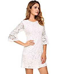 Women's 3/4 Flare Sleeve Floral Lace A-Line Cocktail Party Dress