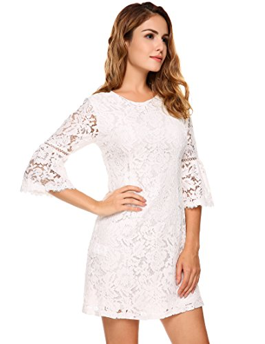 lace 3 4 sleeve dress - 8