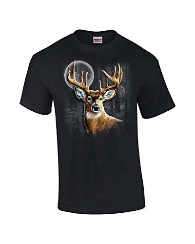 Wilderness Deer - Trenz Shirt Company Whitetail Deer In Wilderness Adult T-Shirt-Black-6xl