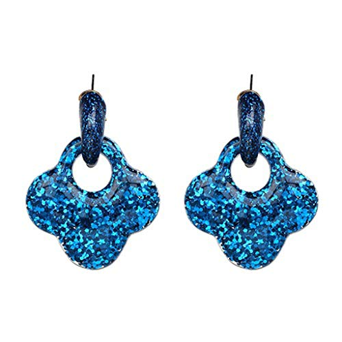 (maxsoul Drop Big Earring Flash Clover Leather Earrings Zinc Alloy Long Brinco Ear Leopard Oorbellen Brinco Christmas,Blue)