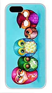 White Hard Plastic Protective Case Cover for iPhone 5 5S 5G,Cute Owls Case Shell for iPhone 5 5S 5 Generation