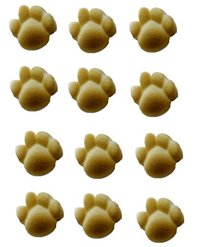 12pk Brown Cat/Dog / Animal Paw Print Ready To Use Edible Cake/Cupcake Sugar Decoration Toppers