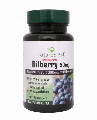 Natures Aid Bilberry ((5000mg equ) 90 Vegan Tablets) by Natures Aid (Bilberry Tablets)