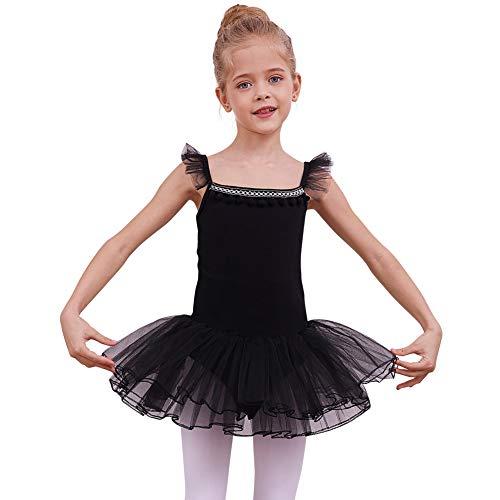 (MHJY Girls Camisole Ballet Tutu Dress Skirted Leotard with Pompoms Kids V-Back Ballerina Dance Dress Black )
