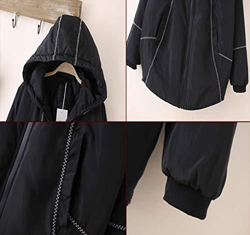 Las Invierno Negro Xxxl Delgado Mujeres Tamaño Moda color Con Grueso Algodón Capucha Abrigo De Chaqueta Suelto wAqxtCEa