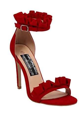PILOT® volante detalle de tiras sandalias de tacón alto Rojo