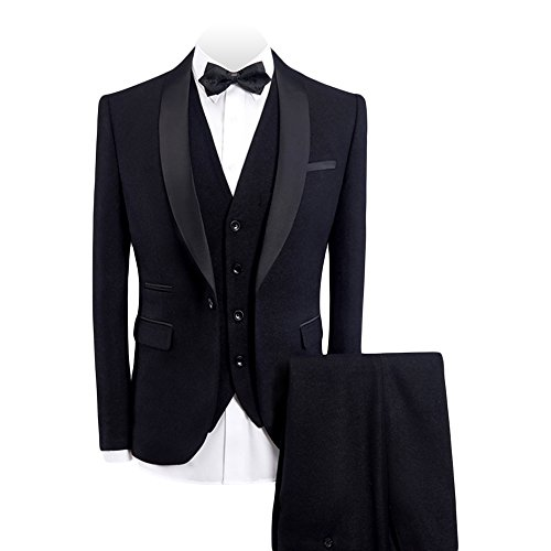 WEEN CHARM Men's 3-Pieces Suit Slim Fit Shawl Lapel One Button Vested Dress Suit Set Blazer Jacket Pants Tux Vest