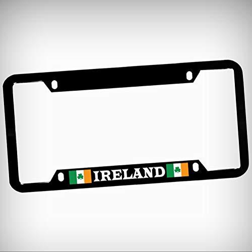 (Ireland Flag Irish Zinc Metal Tag Holder Car Auto License Plate Frame Decorative Border - Black Sign for Home Garage Office Decor )