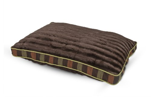 Petmate 80142 Fashion Gusset Pillow Bed, 29 by 40-Inch, Assorted (Dark Brown with Wide Stripe)
