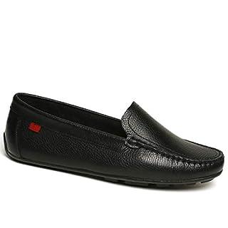 Women's Genuine Leather Made in Brazil Luxury Venetian Driving Loafer Black Grainy 7