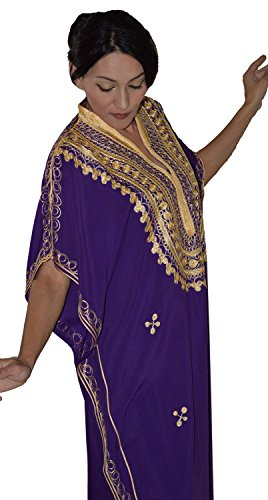 Moroccan Caftan Hand Made Top Quality Breathable Cotton with Gold Hand Embroidery Long Length Purple by Moroccan Caftans (Image #4)