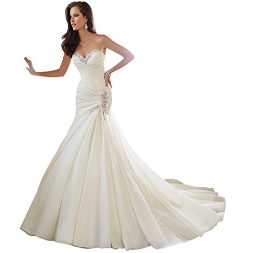 Happyus New Sweetheart Sleeveless Mermaid Lace Up Wedding Dress Bride Gowns