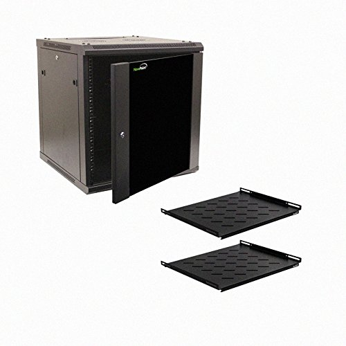 NavePoint 12U Wall Mount Audio Video A/V 24'' Cabinet Rack Enclosure Door Lock and Shelves by NavePoint