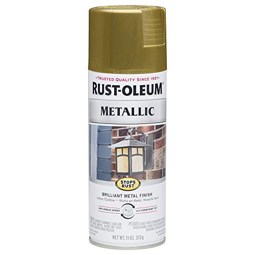 Rust-Oleum 7275830 Stops Rust Metallic Spray Paint, 11 oz, Burnished Brass