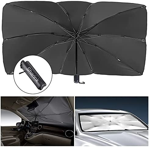 Sharink Car Windshield Sun Shade Umbrella,Blocks UV Rays Sun Visor Protector,Sunshade Umbrella to Keep Your Vehicle Cool and Damage Free,Easy to Store and Use,Fits Windshields of Various Sizes