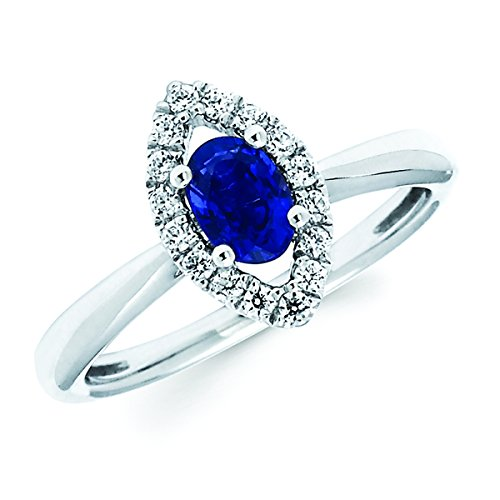 14K White Gold 6x4MM Oval Sapphire and Marquise Shaped Halo Diamond Ring (14k 6x4mm Oval Sapphire Ring)