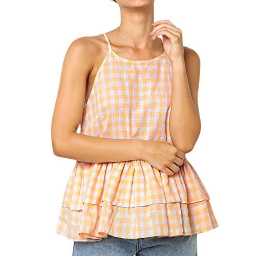 - Cenglings Women Halter Casual Plaid Print Sleeveless Crop Top Vest Ruffle Tank Shirt Blouse Tops High Waist Hollow Out Tops Orange