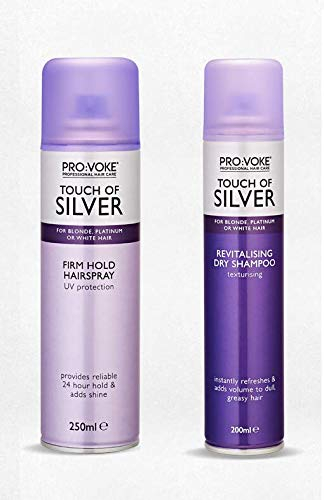 (2 PACK) Provoke Touch of Silver Revitalising DRY SHAMPOO x 200ml & Provoke Touch of Silver FIRM HOLD Hairspray x 250ml