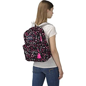 "JanSport High Stakes Backpack - Pink Tulip Lots Of Love / 16.7""H x 13""W x 8.5""D"