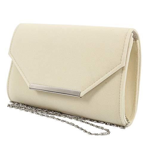 Women Envelope Clutch Bag Ladies Faux Suede Velvet Shoulder Evening Prom Handbag Trim Purse with Chain Nude