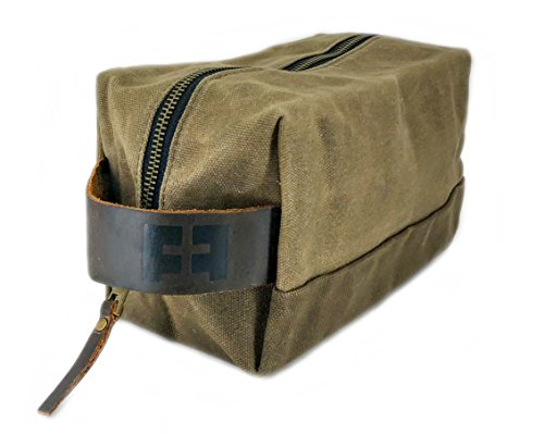 (the DOPP KIT | Durable Waxed Cotton Canvas shave and toiletries bag with leather handle by Fat Felt)