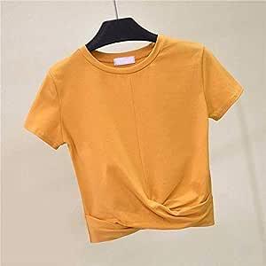 ADSIKOOJF Crop Top de Mujer Camiseta Cruzada de Verano Top de Manga Corta O-Cuello Casual Camiseta sólida de algodón Cintura Alta Camiseta básica Delgada ME: Amazon.es: Hogar