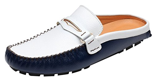 Mens Blue Leather Moccasins Open CFP Clogs Casual 3238 Back on Slip z5wEqxvBE
