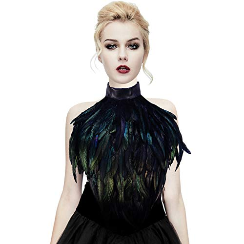 (Homelex Gothic Real Black Feather Cape Shawl Shoulder Wings Choker Collar (YM-35))