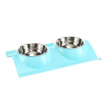 POPETPOP Comedero Doble para Perros y Gatos, Platos Doble del Acero Inoxidable con Soporte Antideslizante