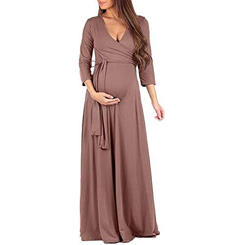 Sunhusing Pregnant Women Solid Color Long-Sleeve V-Neck High Waist Dress Evening Dress Gown Maternity Sundress -