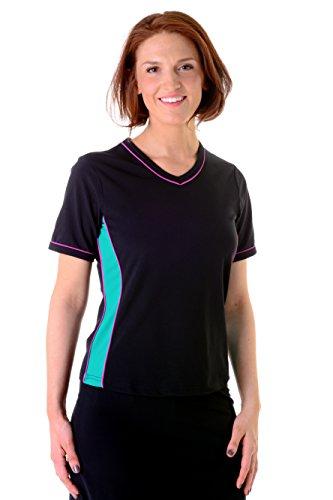 HydroChic Plus Size V Neck Short Sleeve Swim Shirt 3X in Black/Jade/Violet