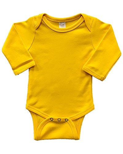 Infant Long Sleeve Bodysuit (0-3m, Yellow) Yellow Long Sleeve Onesie