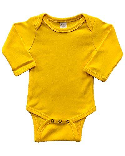 PandoraTees Infant Long Sleeve Bodysuit (12-18m, - Onesie Long Yellow Sleeve