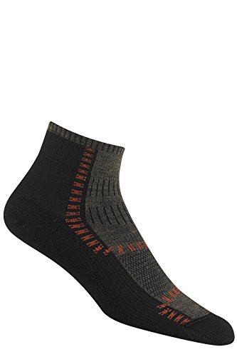 (Wigwam Men's / Women's Wool Dri-Release Trail Trax Pro Quarter Socks, Pair, Black, LG)
