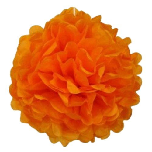 My Sky Chirstmas Decorations Orange Tissue Paper Pom-Poms 12 Pack 10 Inch Wedding & Party Decorations